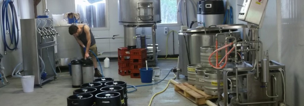 Machines to the cleaning and rinsing of stainless steel kegs, filling kegs with carbonated beverages