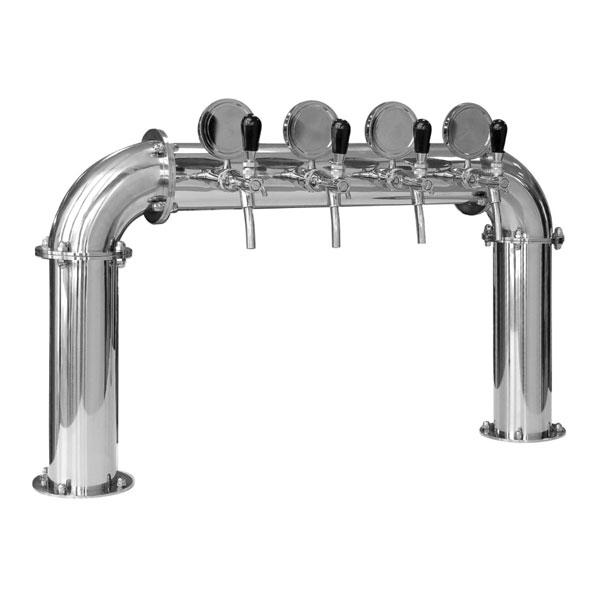 """BDT-BR4V Beverage dispense tower """"Bridge"""" for 4pcs of beverage taps - Polished stainless steel design"""