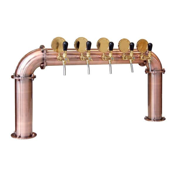 BDT-BR5V Beverage dispense tower Bridge 5-valves : Copper design with protective varnish