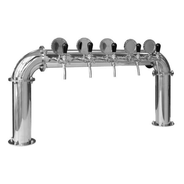 BDT-BR5V Beverage dispense tower Bridge 5-valves : Polished stainless steel design