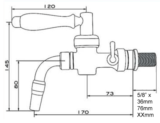 DTP NO100 nostalgia dimensions 2021 - DTP-NO100 : NOSTALGIA beer dispensing tap with compensator - draft-taps