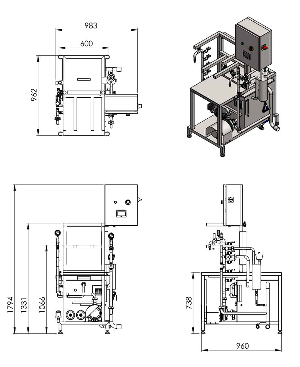 KCA-25 automatic keg rinsing and filling machine - dimensions