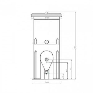 PE fermentation tank 60 liters - dimensons