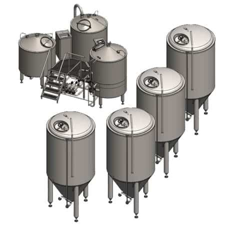 Compact Tritank brewery system