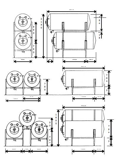MBTHI-40000 Cylindrical pressure tank for the secondary fermentation of beer or cider - dimension