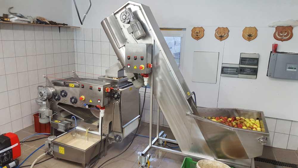 Fruit processing line for cider production