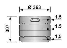 DIN KEG 20 liters - dimensions