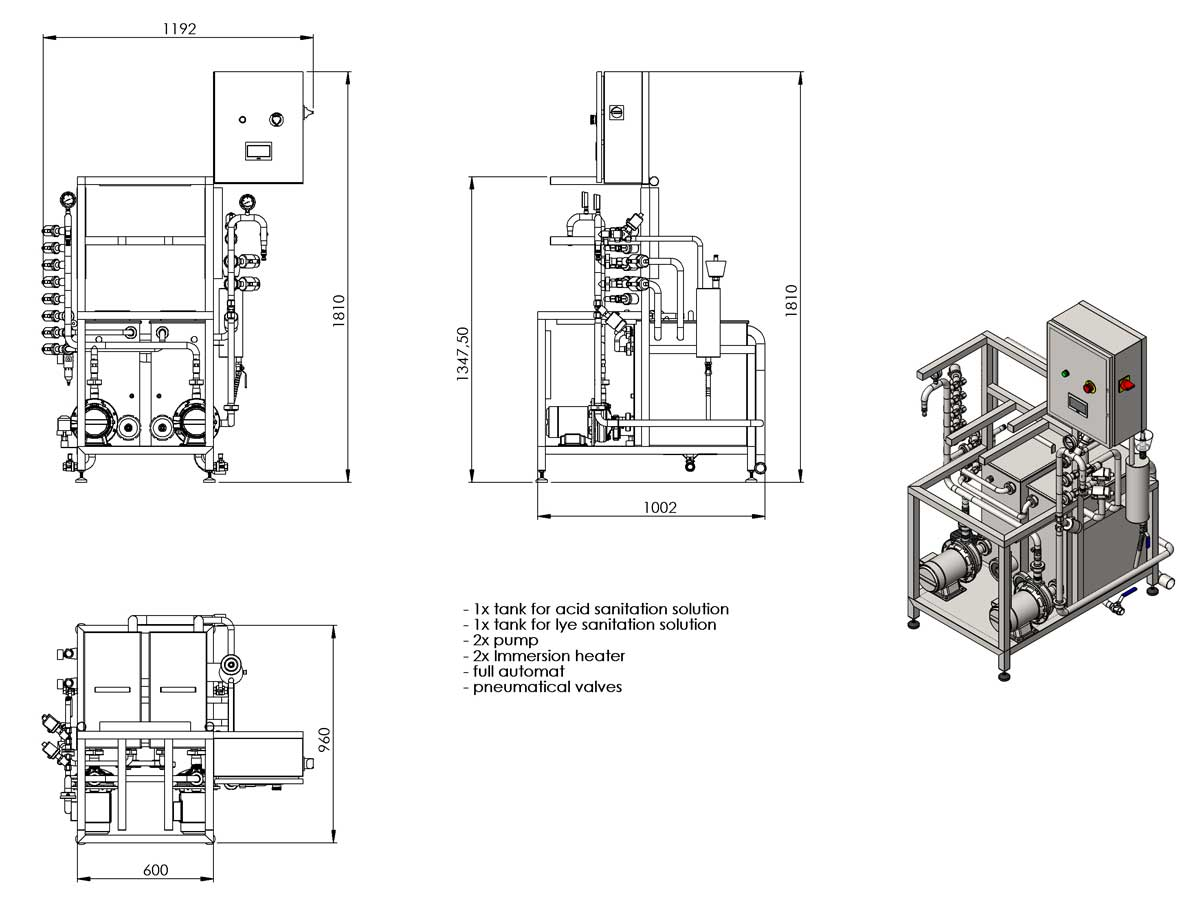KCA 20D dimensions 01 - KCA-20D : Machine for the automatic rinsing and filling of kegs 8-20 kegs/hour (with double tank for chemical solutions) - krf