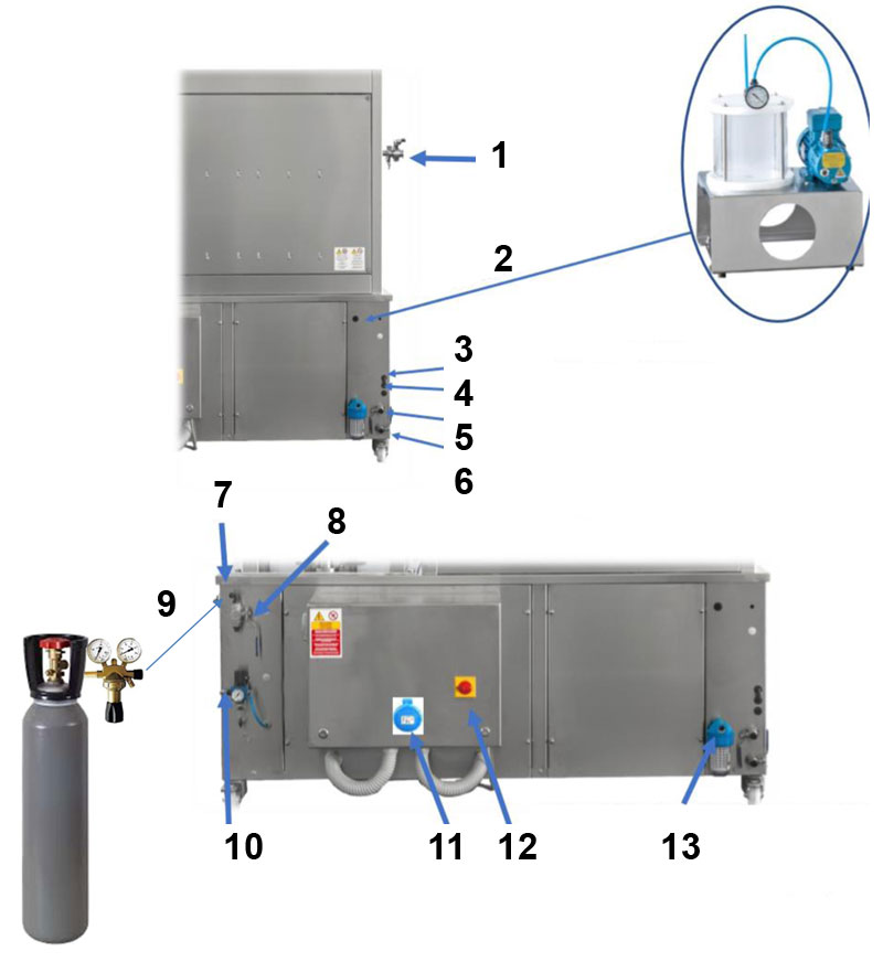 BFSA MB connections inputs - BFSA-MB660 : Semi-automatic rinsing and filling machine for bottles (up to 600 bph) - cbm, bfm, mfp