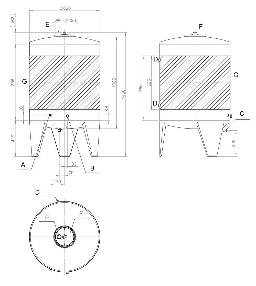 CFT-SNP-400H drawings and description of the fermentor