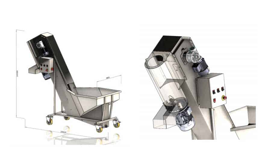 FWDC 1000 05 - FWDC-1000B-BP : Fruit rinsing and crushing machine with brushes 1000kg/hour - cfc-cpt, cfc