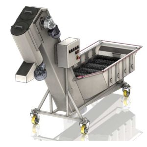 FWDC-1000B : Fruit rinser with rotation brushes, dryer, fruit crusher 1000 kg/hour