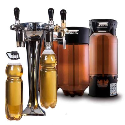 Filing beer into PET bottles and PET kegs, Petainers
