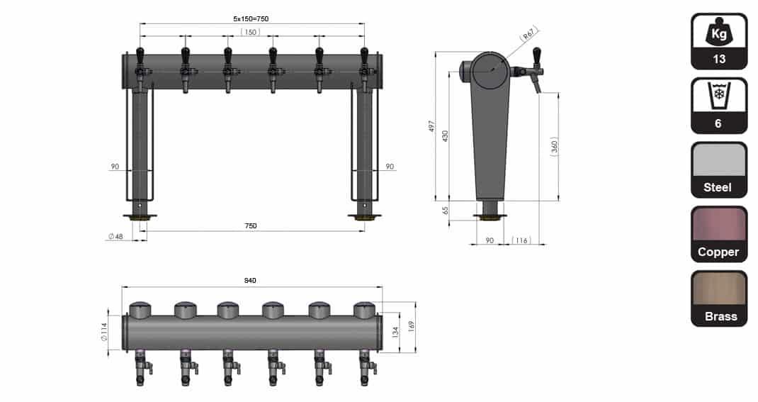 "BDT GT6N dimensions - BDT-GT6N : Beverage dispense tower ""Beer Gate"" with 6pcs of the Nostalgia beverage taps - bdt"