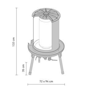 HAP-180S Hydraulic fruit press - dimensions