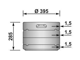 EURO KEG 20 liters - dimensions