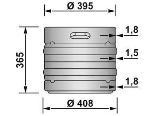 EURO KEG 30 liters - dimensions