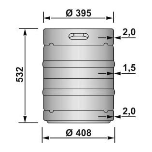 EURO KEG 50 liters - dimensions