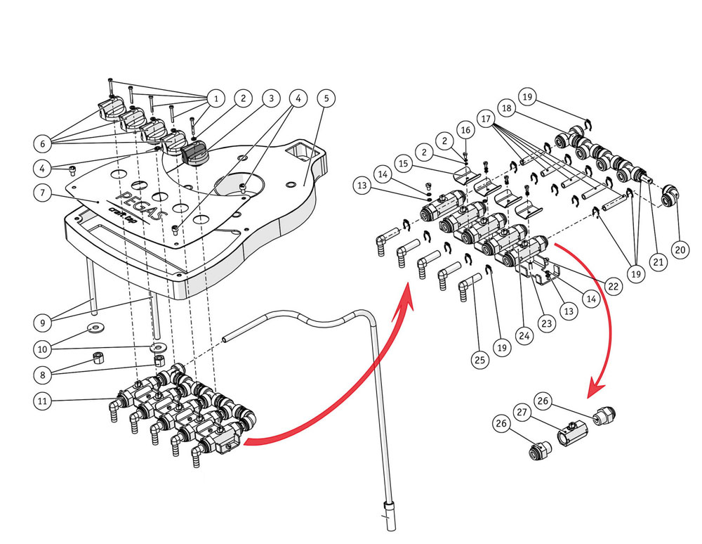 pct3 s scheme - PCT3-S : PEGAS CraftPad switcher 4+1 - accessory for BFM-30 CraftTap3 bottle filler - mbf