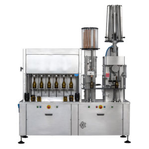 CBFSA-MB6611 Compact semi-automatic filling machine for Champagne-bottles : rinsing, filling, capping, wire-fixing