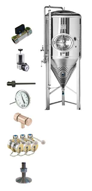 CCT SHP3 1000DE standard equipment - CCT-SHP3-6000DE : Cylindrically-conical universal fermentor 6000/7200 liters 3.0 bar (non-insulated / insulated) - ccti, cmti, cctshp, classic, hft