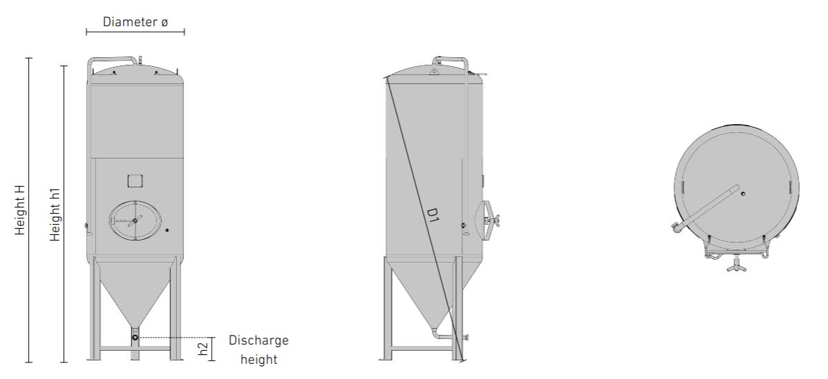 cct shp3 dimensions - CCT-SHP3-6000DE : Cylindrically-conical universal fermentor 6000/7200 liters 3.0 bar (non-insulated / insulated) - ccti, cmti, cctshp, classic, hft