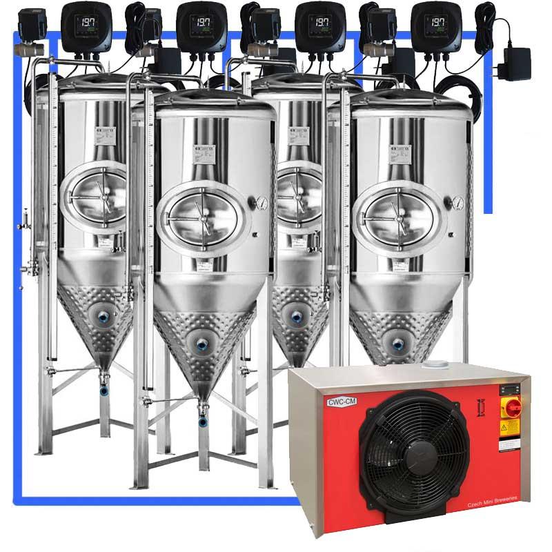 CFS 1ZS Complete beer fermentation sets simplified CLC 1 4CCT3 1000 N - CFSCT1-4xCCT1000SHP3 : Complete fermentation set with 4xCCT-SHP3 1200 liters - ct1cct-shp-cfs, ot1z-cct1000c, cfs1c-cct-1000, bm1000fs, bm500fs