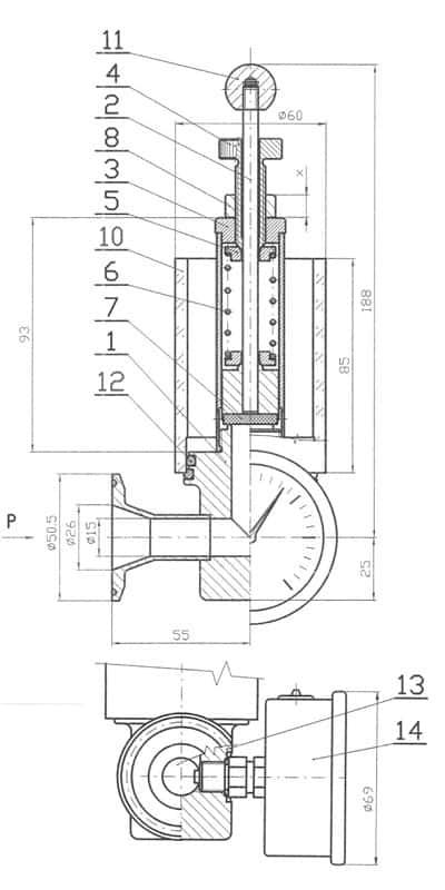 73100015079100 RV1 technical drawing 400x800 - MTS-RV1-DN25TC Pressure adjusting apparatus with manometer and air-lock for CCT-M modular fermentors - cm-rvm, rvm, mts-rvm, paa, fal