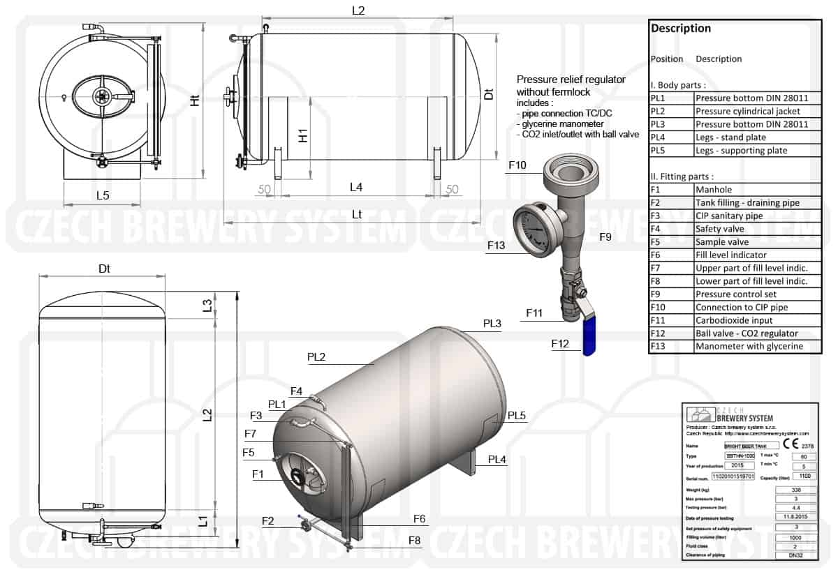BBTHN 1200 2015 description en - BBTHN-5000C Cylindrical pressure tank for storage and final conditioning of carbonated beverage before bottling, horizontal, non-insulated, 5000/5900L, 3.0bar - horizontal-non-insulated-bright-beer-tanks
