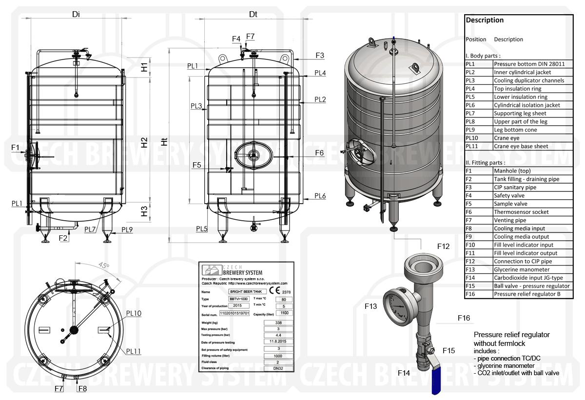 BBTVI 2000 2015 description - BBTVI-10000C Cylindrical pressure tank for storage and final conditioning of carbonated beverage before bottling, vertical, insulated, 10000/11110L, 3.0bar - vertical-insulated-bright-beer-tanks, bright-beer-tanks