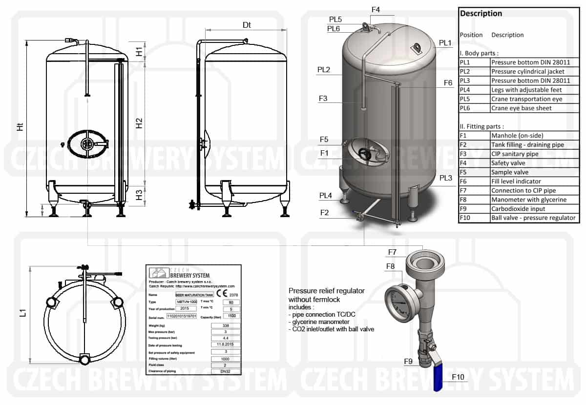 BBTVN 2000 2015 description en - BBTVN-750C Cylindrical pressure tank for storage and final conditioning of carbonated beverage before bottling, vertical, non-insulated, 750/869L, 3.0bar - bright-beer-tanks, vertical-non-insulated-bright-beer-tanks