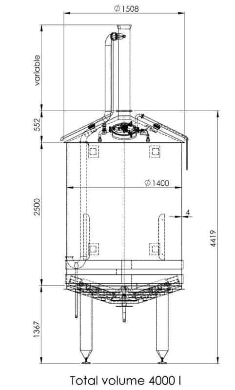 BH BWOP 6000 mash tank 02 dim - BREWORX OPPIDUM 6000 : Wort brew machine - the brewhouse - bop, bwm-bop