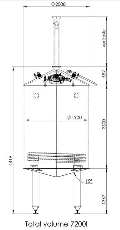 BH BWOP 6000 wort collector 02 dim - BREWORX OPPIDUM 6000 : Wort brew machine - the brewhouse - bop, bwm-bop