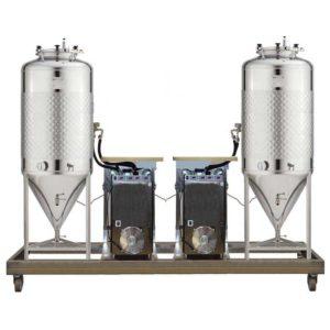 FUIC-SLP2C-2x1000CCT Compact fermentation unit 2×1000/1200 liters 1.2 bar