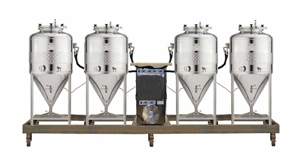 Compact fermentation units with the independent cooling system and simplified CCT-SHP cylindrically-conical fermentors