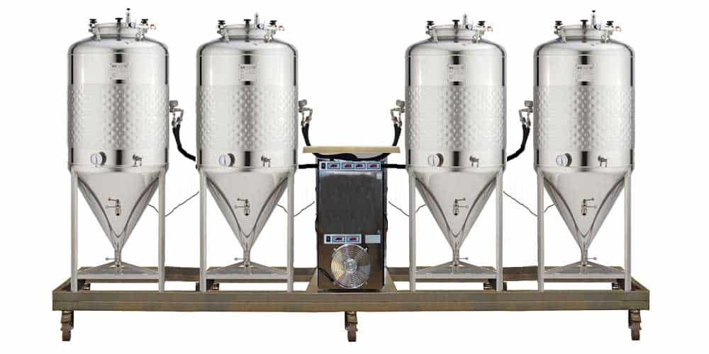 Compact fermentation units with the independent cooling system and simplified CCT-SLP cylindrically-conical fermentors