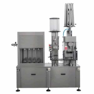 CBFSA-MB4411 Compact semi-automatic filling machine for Champagne-bottles : rinsing, filling, capping, wire-fixing