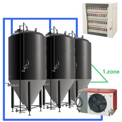 CC1Z : Complete fermentation sets with central control box, CCT tanks with one cooling zone