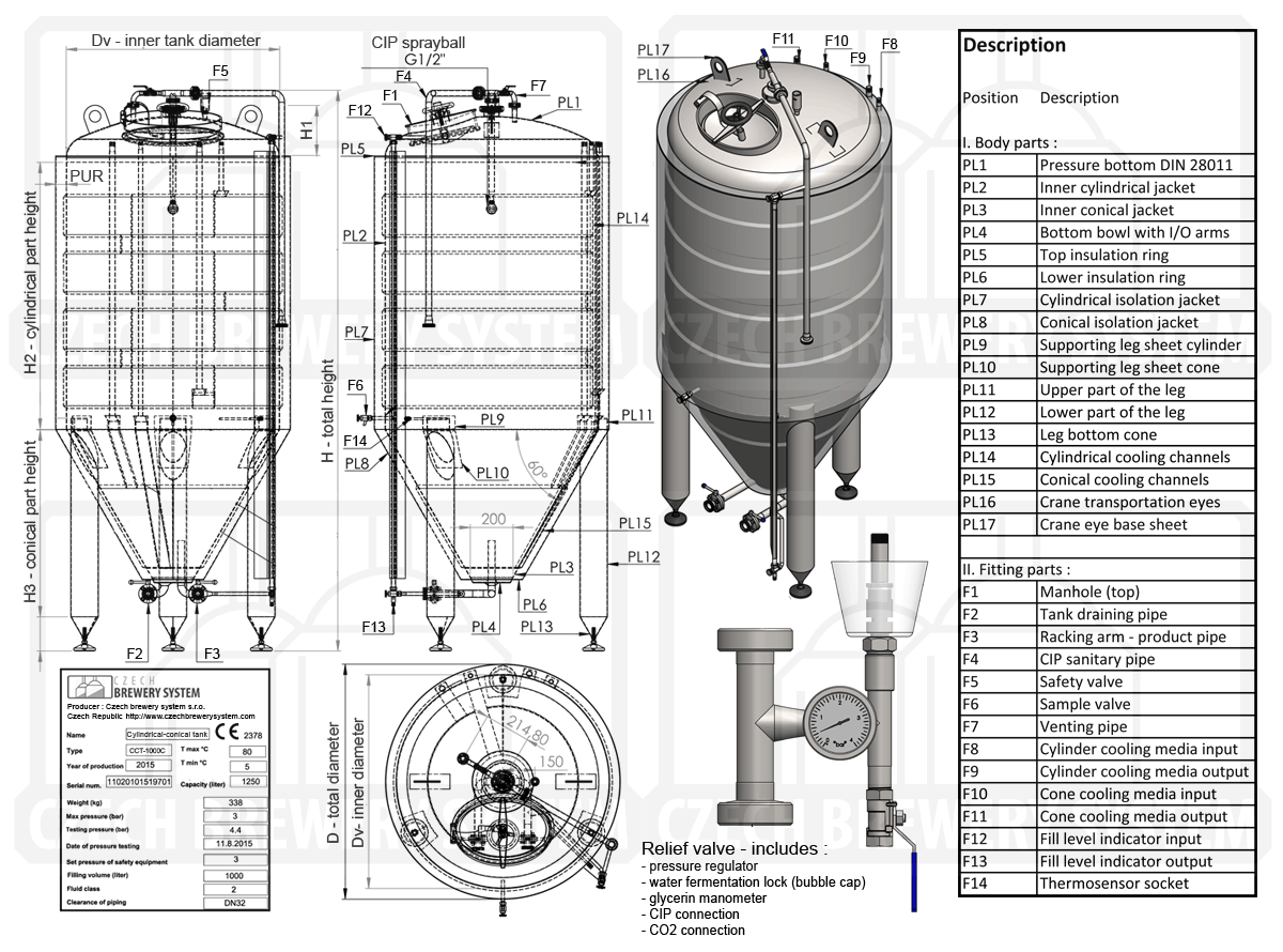 Technical description of the CCT-1500C cylindrically-conical fermentor as main component od the FUIC-CHP2C-2x1500CCT fermentation unit