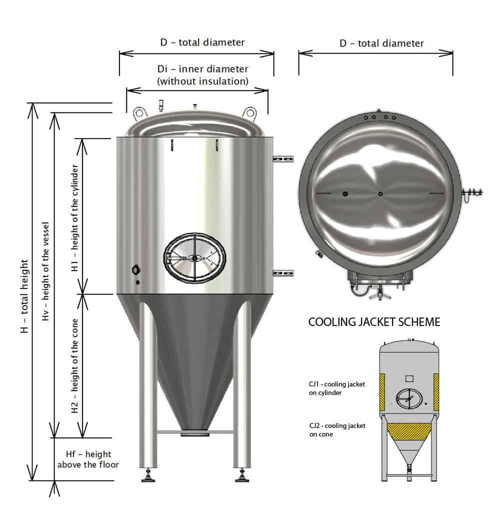 CCT M BT dimensions cjs 1000x1050 - CCTM-1000A3  Modular cylindrically-conical fermentation tank 1000/1276 L - a3, a3sets