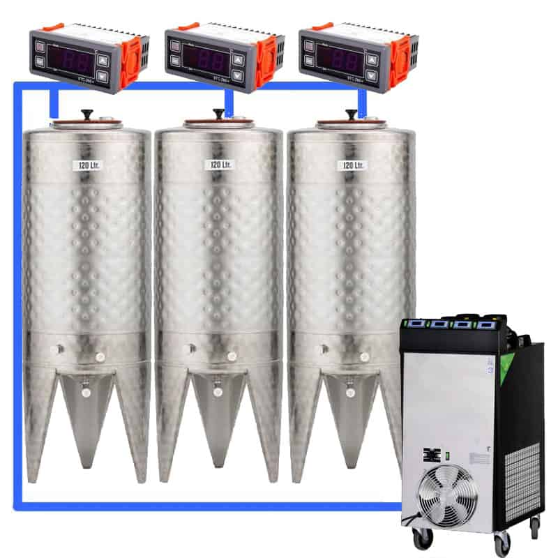 CFS 1ZS Complete beer fermentation sets simplified CLC SNP100H 3T - CFSCT1-3xCFT100SNP : Complete fermentation set with 3xCFT-SNP 120 liters - ct1cct-snp-cfs, cfs1c-fmt-100