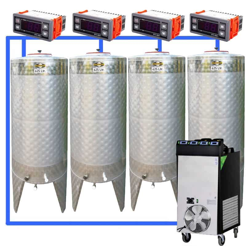 CFS 1ZS Complete beer fermentation sets simplified CLC SNP500H 4T - CFSCT1-4xCFT500SNP : Complete fermentation set with 4xCFT-SNP 625 liters - cfs1c-fmt-500, ct1cct-snp-cfs
