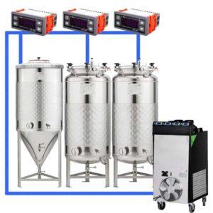 CFSCT1-1xCCT100SNP-2xFMT100SLP : Complete fermentation set with 1xCCT-SNP 120 liters and 2xFMT-SLP 120 liters