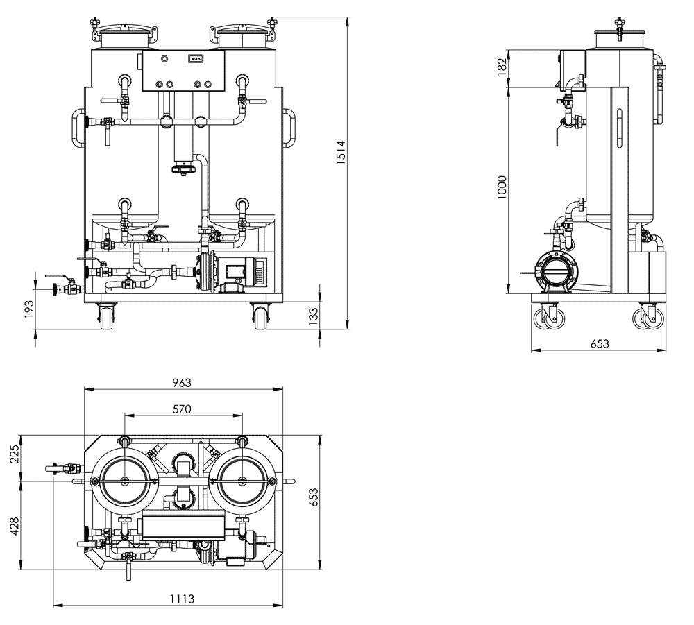 CIP-52 Dimensions od the Cleaning-In-Place unit