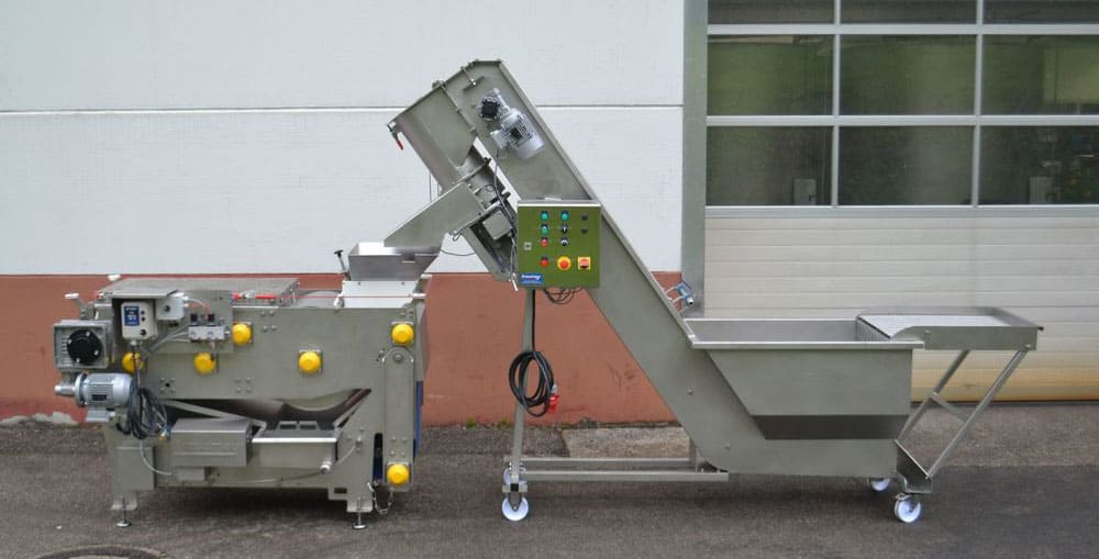 FWC 2000A and FBP 800 set - FWDC-3000P-A : Fruit rinser, dryer, crusher 3000kg/hour with pump - cfc-cpt, cfc