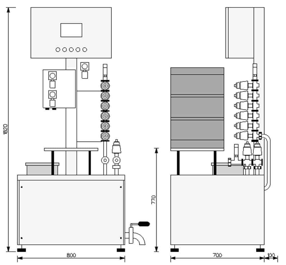 KRF 21 keg rinser filler 03 - KRF-21 Machine for the semiautomatic rinsing and sanitizing of kegs 12-20 kegs/hour - krf