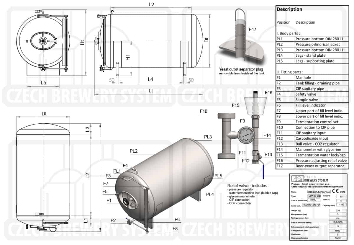 MBTHN 1200 2015 description en - MBTHN-8000C Cylindrical pressure tank for the secondary fermentation of beer or cider (maturation, carbonization), horizontal, non-insulated, 8000/8538L, 3.0bar - horizontal-non-insulated