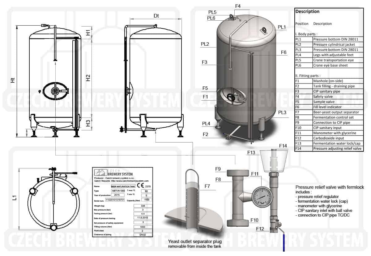 MBTVN 2000 2015 description - MBTVN-150C Cylindrical pressure tank for the secondary fermentation of beer or cider (maturation, carbonization), vertical, non-insulated, 150/177L, 3.0bar - vertical-non-insulated