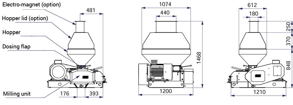 MM4000 drawing set options - MMR-600 : Malt mill - machine to squeezing of malt grains, 11kW 3300-4000 kg/hr - wide rollers - malt-mills-crushers