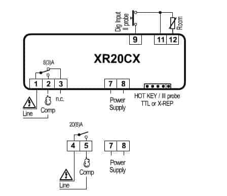 XR20CX scheme01 - XR20CX - Microprocessor temperature regulator - dtc, sttc